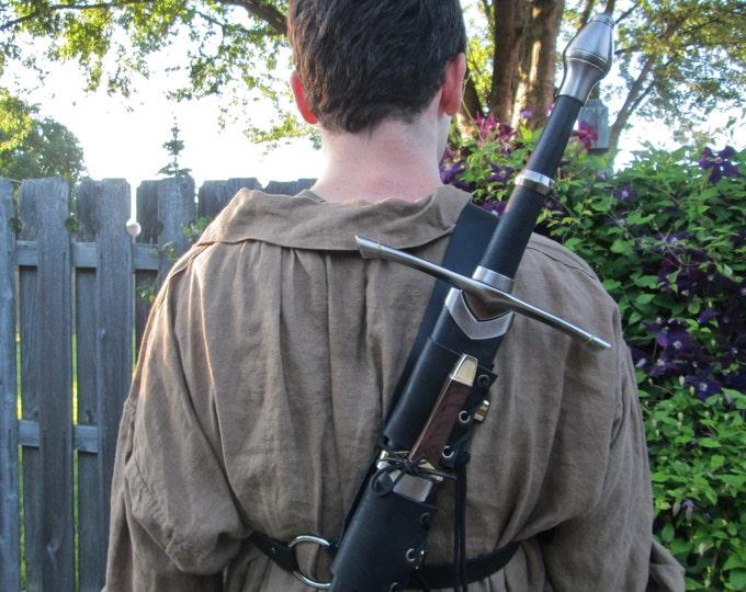 Leather Back Sword Strap - Medieval Renaissance Ranger Assassin - Men's