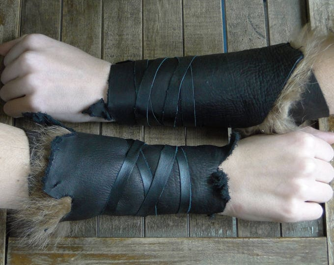 Leather Cuffs - Warrior Viking Tribal Larp Costume Cosplay - Pair #5a