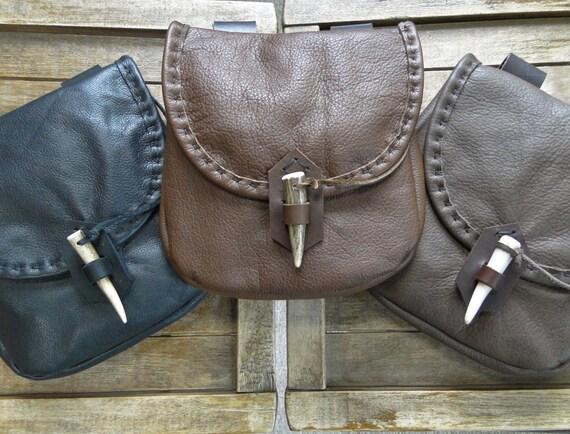 Medieval Leather Pouch, Renaissance Bag, Deer Antler Point Closure, Large - The WOODSMAN - /F/ (AB)