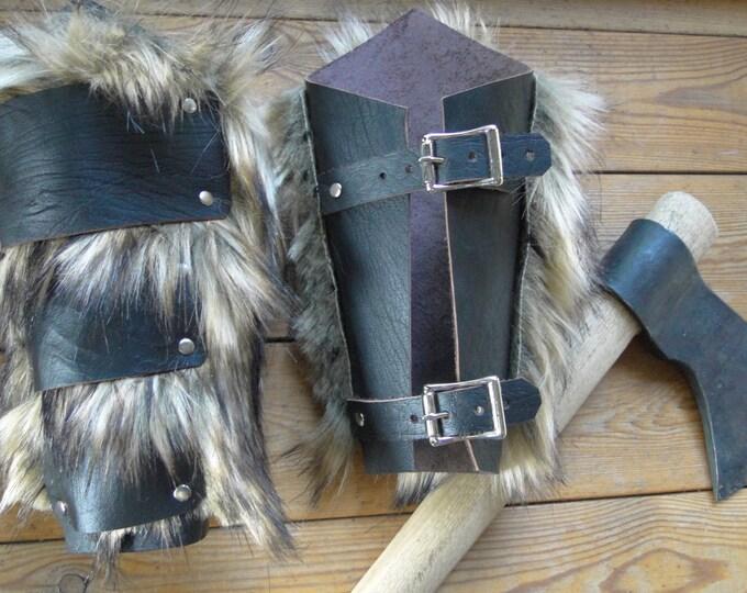 Leather & Fur Barbarian Bracers - Viking Warrior Faux Wolf Fur Arm Guards, Medieval, Renaissance - Choose Color!