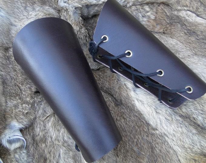 Renaissance Leather Bracers - Lace Up Arm Guards, Viking Medieval Armor - Pair Black or Brown