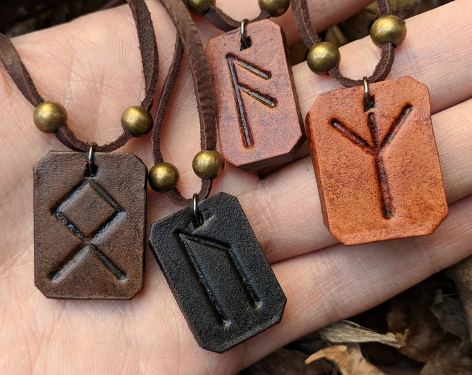 Rune Necklace Pendant Leather - Choose Your Rune & Color - Viking Pagan Gift
