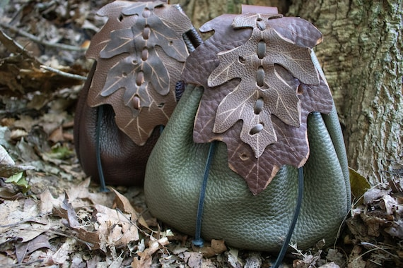 Elven Leaf Belt Bag Leather Pouch, Fantasy Style - Woodland Pouch Oak - /F/ (AB)