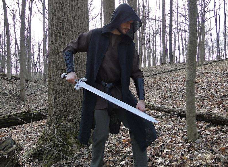 Hooded Ranger Surcoat Medieval Assassin Vest  Mens Large One image 0