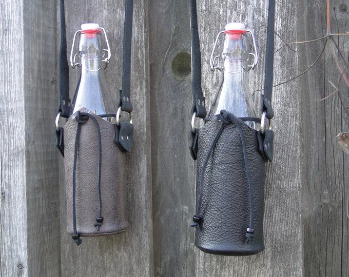 Leather Bag W/ Glass Drinking Bottle Cork Sealed - LARP Medieval Renaissance Fair Cosplay - Black or Brown