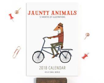 2018 Calendar - Jaunty Animals by Hello Small World, Desk Calendar, Monthly Calendar, 12 Months, Fox Bear Bicycle Raccoon Moose