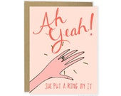 Lesbian Engagement Card - She Put A Ring On It Card, Cute Engagement Card, She Proposed Card, Funny Engagement Announcement, Engaged Card