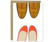 Love Card - Red Flats & Wingtips, Anniversary, For Boyfriend, For Husband, For Wife, Girlfriend Card, Shoe Card, Couple Card, Love You Card