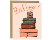 Cute Bon Voyage Card - Luggage,  Goodbye Card, Leaving Card, See You Later Card, Retirement Card For Her, Goodbye For Friend, Bon Voyage
