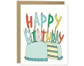 Birthday Card - Happy Birthday Candles, Cute Birthday Card, Sweet Birthday Card