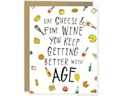 Funny Birthday Card, Cheeky Birthday Card, Snarky Birthday Card, Cheesy Birthday Card, Pun Card, Wine Card, You Are Old Birthday Card, Cute