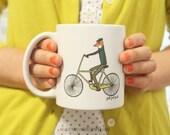 Coffee mug – Fox Mug, mr. fox on bicycle, bike, animal, tea mug by Hello Small World