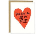Funny Love Card - All The Feels, Valentines Card, Anniversary Card For Husband, Boyfriend Love Card, Wife, Funny Love Card For Him