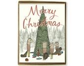 Cute Christmas Card - Squirrel Family Christmas Card Set, Box Of Christmas Card, Merry Christmas Cards, Animal Card, Woodland