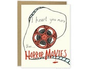 Horror Love Card - Heart Horror Movies, Funny Valentine Card, Horror Anniversary Card, Zombie, Boyfriend, Girlfriend, Husband