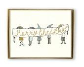 Cute Christmas Elves Cards - Cute Holiday Card Set, Cute Box Of Christmas Cards, Elf Christmas Cards, Merry Christmas Cards