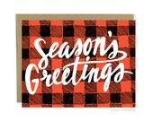 Christmas Card - Season's Greetings Buffalo Plaid Card, Cute Holiday Card, Rustic Holiday Card, Rustic Christmas Card, Christmas Plaid Card