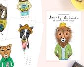 2020 Calendar - Jaunty Animals by Hello Small World, Desk Calendar, Wall Calendar, Monthly Calendar, 12 Months, Cat, Dog, Stocking Stuffer
