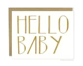 New Baby Card - Hello Baby, Cute Baby, New Baby Announcement, New Mom Card, New Baby Congrats, Congratulations Baby Card, Newborn