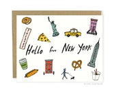 Hello From New York Card - New York City, Hello From NYC, Travel, Illustrated Greeting Card, Hello From New York Card, NYC Landmarks