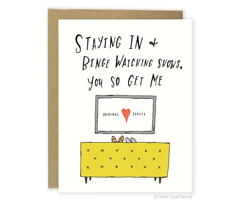Valentine Card  Introvert Anniversary Card  Staying In Binge image 0
