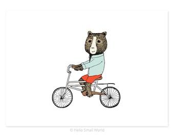 Bear On Bicycle 5 x 7 Jaunty Animals Print by Hello Small World - Bear Print, Bicycle Art