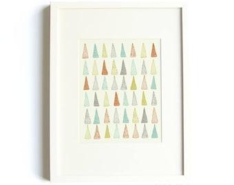 Colored Trees Print - Modern Print, Illustrated Print, Pastel, Kids Art, Nursery Art, Children's Art, Geometric, 8 x 10 Illustration Print