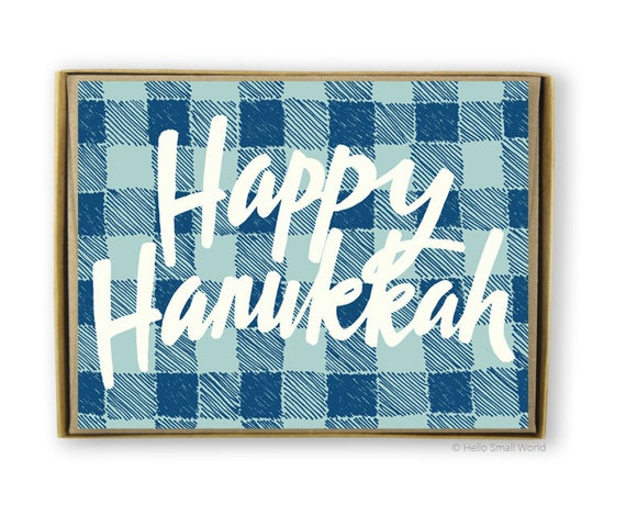 Hanukkah Card Set, Box of Hanukkah Cards, Happy Hanukkah Cards, Hanukkah Holiday Cards, Plaid Hanukkah Cards, Cute Hanukkah Cards, Chanukah
