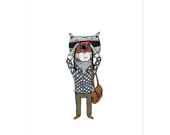 Photographer Raccoon 5 x 7 Jaunty Animals Print by Hello Small World - Photography Print, Photographer, Raccoon Print