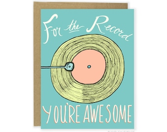 Funny Record Card - Funny Valentines Day Card - Record Player Valentine Card - Record Player Card - Music Love - Vinyl Card - For Friend