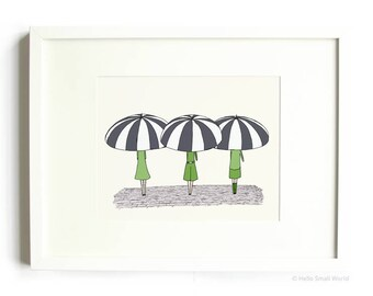 3 Umbrella Girls Print - Illustration Print, 8x10 Art Print, Umbrella Print, Childrens Decor, Babies Room, Cute Illustration, Nursery Art