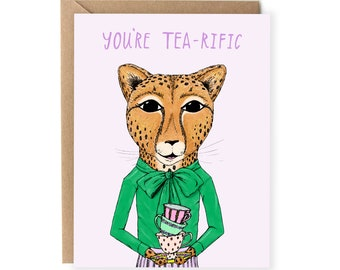 Funny Cards, Just Because, For Her, For Friend, Pun Card, Food Pun, Tea-rific, Cute Greeting Cards, For Any Occasion, Girlfriend, Pun Cards