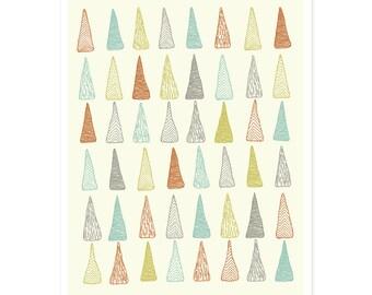 Colored Trees Illustrated Print - 5 x 7 Art Print, Pen and Ink  Illustration, Modern Print, Geometric Print, Wall Art, Kids Art, Tree Print