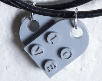 Engraved Heart LOVE Necklace Pair made from LEGO Bricks
