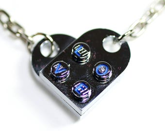 Chrome Engraved Heart LOVE Keychain Pair made from LEGO Bricks