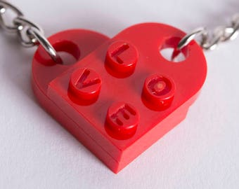 Engraved Heart LOVE Keychain Pair made from LEGO Bricks