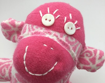 Little Pink And White Handmade Sock Monkey