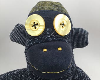 Ugly Handmade Sock Monkey With Big Yellow Button Eyes