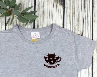 Black Cat Club Woman's Heather Grey top with teacup and paw prints. Ladies T-Shirt. Cat Lover