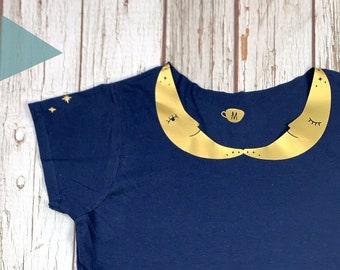 Crescent Moon Collared Woman's Navy top with shiny gold stars. Ladies T-Shirt.