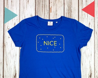 Nice Biscuit T-Shirt. Woman's Royal Blue top, Ladies biscuit lover clothing Small-2XL. Organic cotton