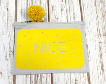 Nice pouch. British Biscuit pencil case. Mellow yellow with PomPom. Cosmetic case, make-up bag
