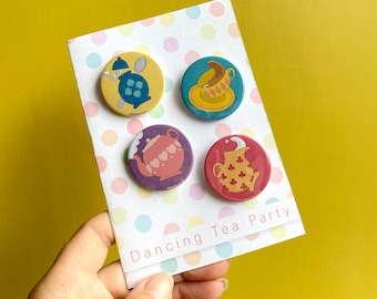 Birthday card- Dancing Tea Party. Badge card for best friend, teacup gift card. Pin badge set.