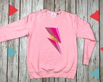 Pink flash Sweatshirt. Soft Pink Organic top, female clothing. Crew sweater