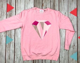 Pink disco diamond Sweatshirt. Soft Pink Organic top, female clothing. Crew sweater