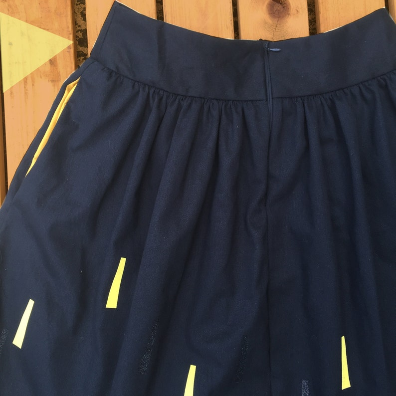 plus sizes made to order with pockets Black Handmade Skirt- sun beam pattern- Ladies clothing Limited edition!