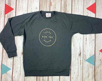 Rich Tea Biscuit Sweatshirt. Grey crew top, British biscuit lover clothing. Charcoal Sweater