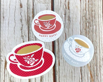 Teacup Stickers for tea drinkers. Vinyl & Paper Happy Days Stickers!