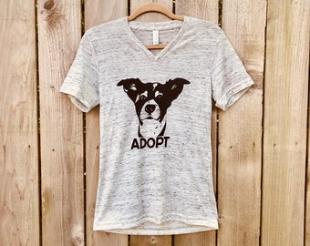 ad64fadef Soft ALL SIZES Men's unisex white marble V neck jersey tee shirt ADOPT  Border collie dog rescue t shirt Benefits Rescue efforts