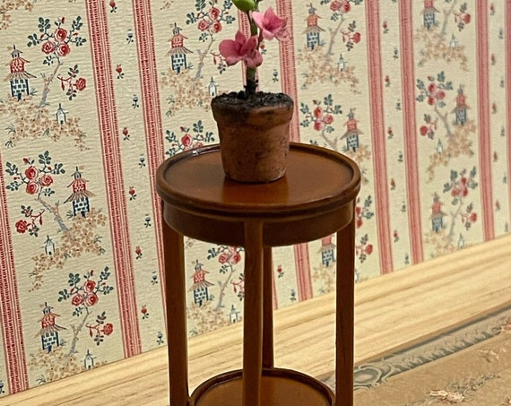 Dollhouse Miniature Furniture, Accent Table, Inlaid Wood Plant Stand, 1:12 scale